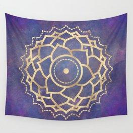 Mandala Chakra Copper and Purple Crown Chakra Wall Tapestry