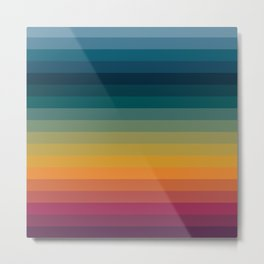 Colorful Abstract Vintage 70s Style Retro Rainbow Summer Stripes Metal Print