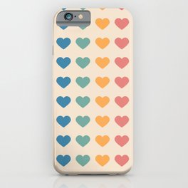 Heart Holiday Pattern, aesthetic rainbow love pattern iPhone Case
