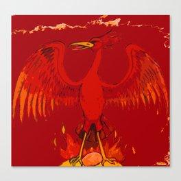 Phoenix On Its Flaming Nest Canvas Print