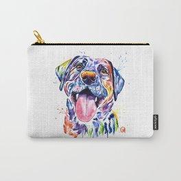 Black Lab Colorful Watercolor Pet Portrait Painting Carry-All Pouch