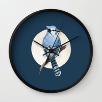 jay fleck Wall Clocks featuring Blue Jay by Elena Naylor