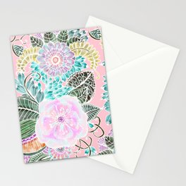 Blush pink lavender green white watercolor hand painted flowers Stationery Cards