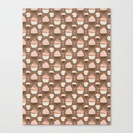 Elegant Cupcakes Food Vector Pattern Seamless Canvas Print