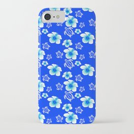 Blue Floral And Turtles Hawaiian Pattern iPhone Case