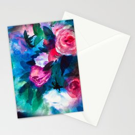 Watercolor Rose Medley with Sea Blue and Teal Stationery Cards