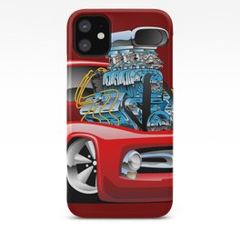 American Classic Hotrod Pickup Truck Cartoon iPhone Case