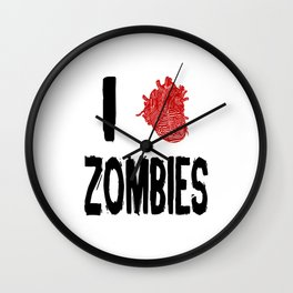 I Love Zombies with a Heart to replace the word Love Wall Clock