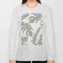 Simply Retro Gray Palm Leaves on White Long Sleeve T-shirt