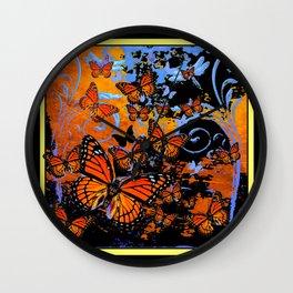 Night & Dawn Monarch  Butterflies  Surrealism Art Wall Clock