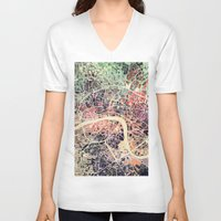 london map V-neck T-shirts featuring London Mosaic Map #1 by Map Map Maps