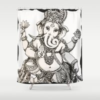 ganesha Shower Curtains featuring Ganesha by Dark Horse Bailey
