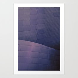 Architectural abstract of the home of the LA Philharmonic in blue and rose. Architect: Frank Gehry Art Print