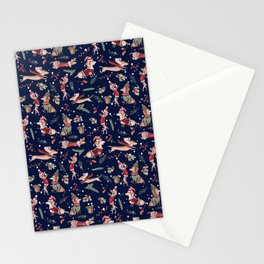 Dachshund in the snow on blue Stationery Cards