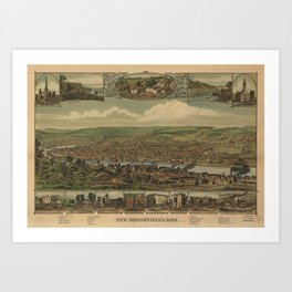 Vintage Pictorial Map of New Brighton PA (1883) Art Print