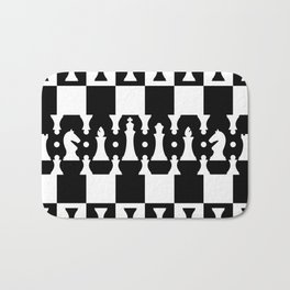 Chess Pieces Pattern - black and white Bath Mat