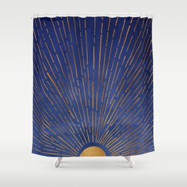Twilight / Blue and Metallic Gold Palette Shower Curtain