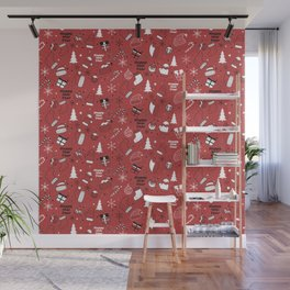 New Year Christmas winter holidays pattern with gifts, candys, christmas tree and toys, santa hat, s Wall Mural