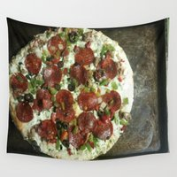 pizza Wall Tapestries featuring Pizza by Cylena Young