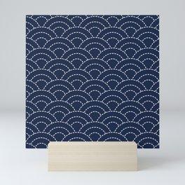 Japanese Seigaiha Wave - Stitched Pattern Mini Art Print