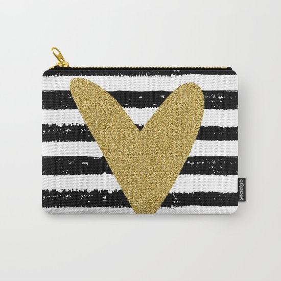 Heart on stripes Carry-All Pouch