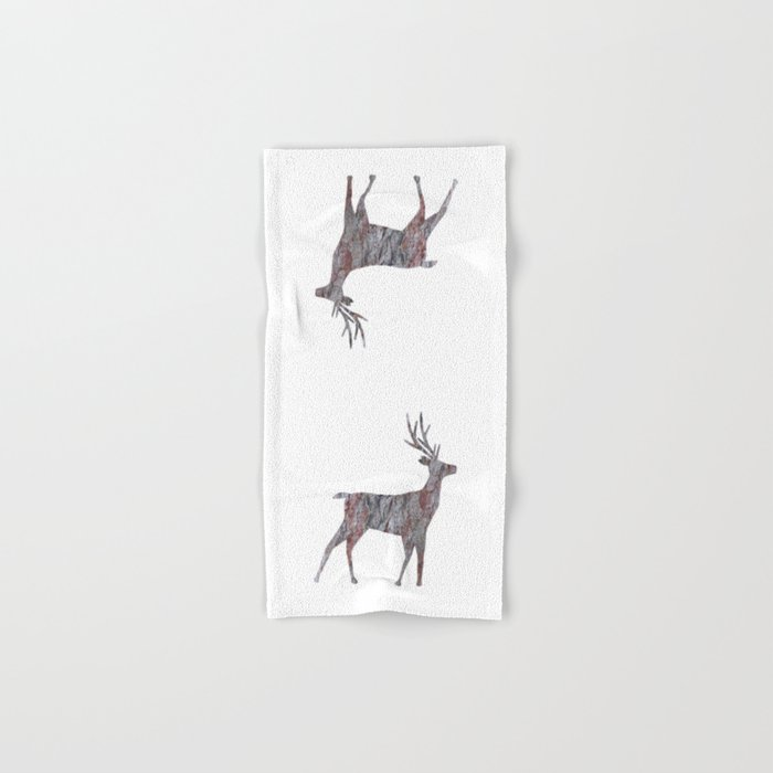 deer silhouette stag pine bark Hand & Bath Towel