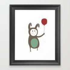 Bunny boy with a balloon Framed Art Print