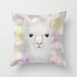 Alpaca farm animal portrait Throw Pillow