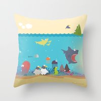 What's going on at the sea? Kids collection Throw Pillow
