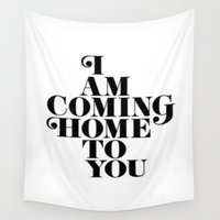 home sweet home Wall Tapestries featuring Home by Maheva K