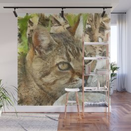 Relaxed Tabby Cat Resting In Garden Wall Mural