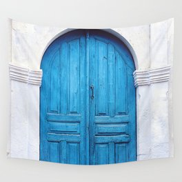 Vibrant Blue Greek Door to Whitewashed Home in Crete, Greece Wall Tapestry