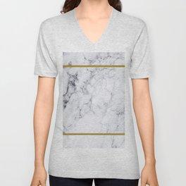 White Marble Gold Frame Unisex V-Neck