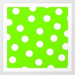 Polka Dots - Lawn Green and White Art Print