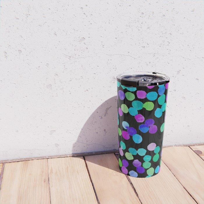 Watercolour Purple Blue Dots Travel Mug