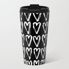 Black & White-Love Heart Pattern-Mix & Match with Simplicty of life Travel Mug