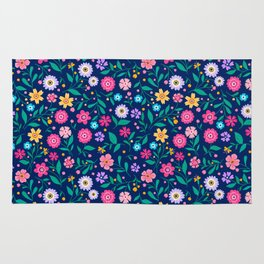 """Cute Floral pattern of small flowers. """"Ditsy print"""". Rug"""