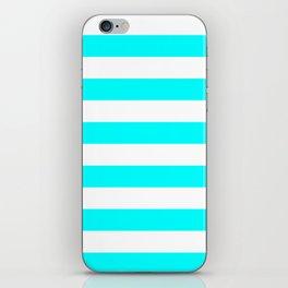 Horizontal Stripes - White and Aqua Cyan iPhone Skin