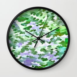 Foliage Abstract In Green and Mauve Wall Clock