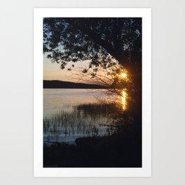 sunset on fraser lake Art Print