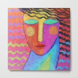Colorful Abstract Painting on OSB Board Metal Print