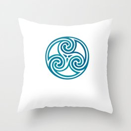 St. Patrick's Day Celtic Blue Mandala #5 Throw Pillow