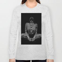 1152-MAK Abstract Nude Black & White Zebra Striped Woman Topographic Feminine Body Long Sleeve T-shirt