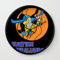 pooh Wall Clocks featuring Bat Pooh! by Purple Cactus