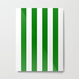 Vertical Stripes - White and Green Metal Print