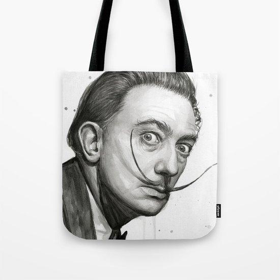 Salvador Dali Watercolor Portrait Tote Bag
