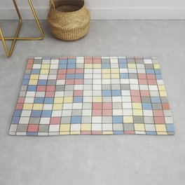 Composition with Grid IX by Piet Mondrian 1919 // Red Blue Yellow Gray Cube Abstract Square Pattern Rug