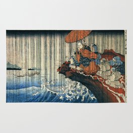 Ukiyo-e, Utagawa Kuniyoshi, Priest Nichiren praying under the storm Rug