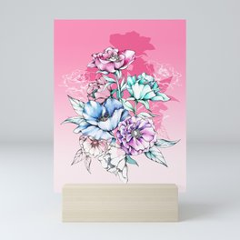 Poppy Bouquet- Pink Mini Art Print