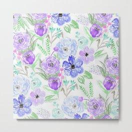 Hand painted lavender lilac blue watercolor flowers Metal Print